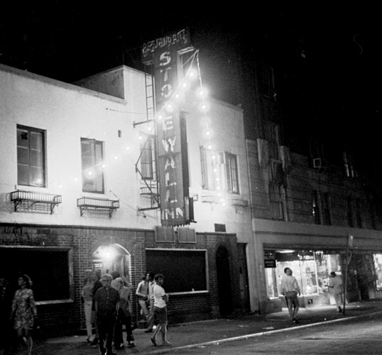 Stonewall Bar 1969  07-02-69. Disturbance on Sheridan Square, NYC. Scenes at Christopher St. and 7th Ave. South with police trying to clear crowds. Pictured, Stonewall Inn which was raided one day last week. (Larry Morris/The New York Times)